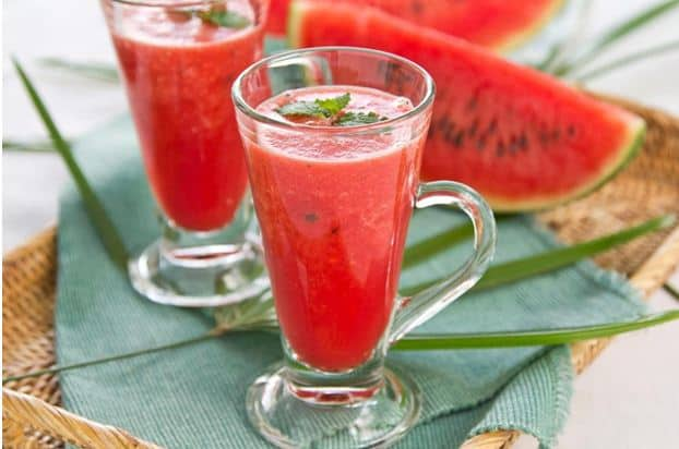 Watermelon Juice in Straw Tray